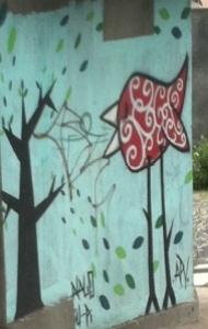 Bird & Tree Graffiti Mural - Belo Horizonte, Brazil