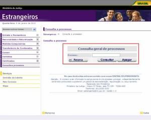 Ministerio de Justica Estrangeiros Website