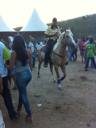 Horses rode among the crowd.