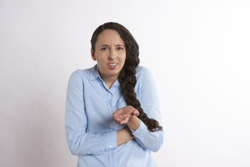 woman with a quizzical expression