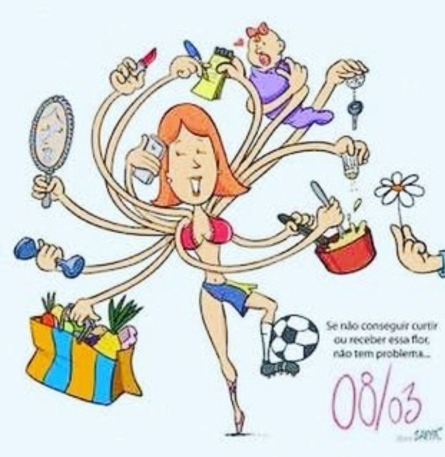 woman with 12 arms holding groceries, a dumbbell, mirror, lipstick, cellphone, to-do list, baby, car key, pot, salt-shaker, and kicking a soccer ball.