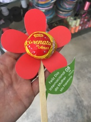 image of a red paper flower and bombon